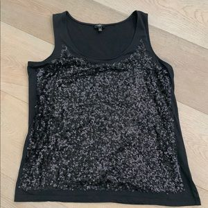 Talbots Woman Black Sequin Tank